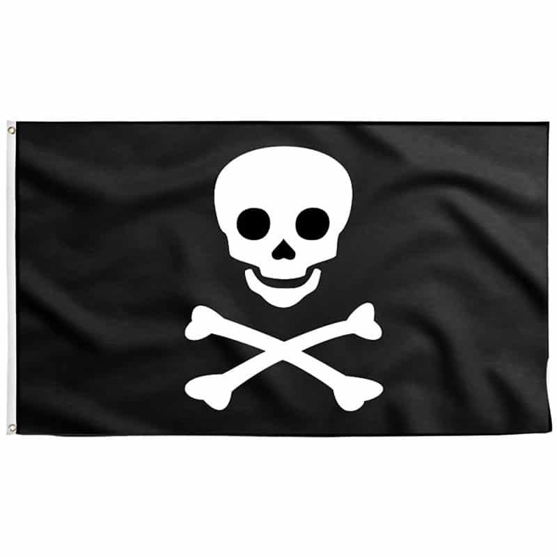 Drapeau Attention Tête de Pirate - Jolly Roger
