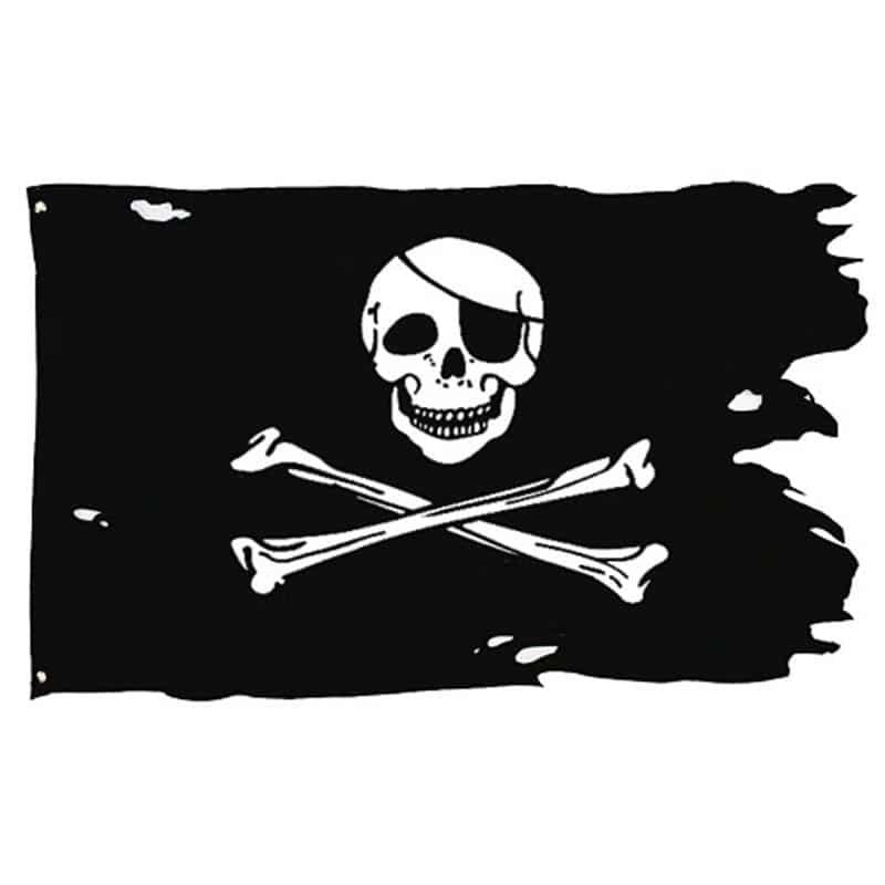 Drapeau de Pirate Arraché avec Tête de Mort - Jolly Roger