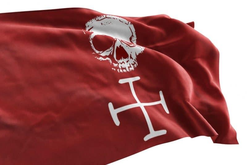 Drapeau Pirate au Fon Rouge - Jolly Roger