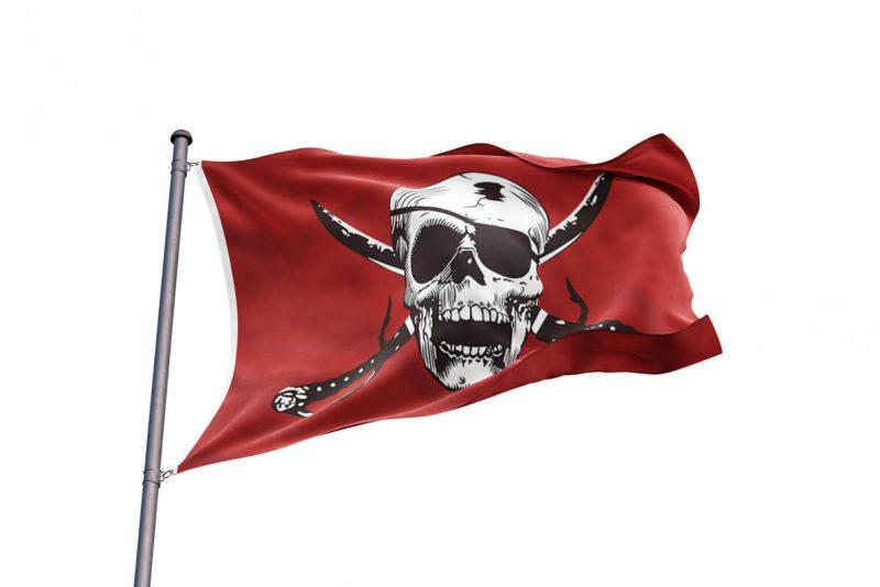 Drapeau Pirate Dessin Rouge et Blanc - Jolly Roger