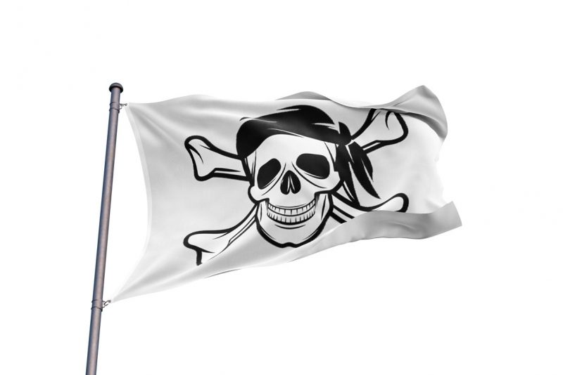 Drapeau Pirate Fond Blanc - Jolly Roger