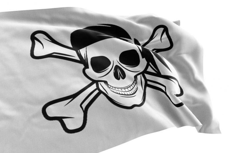 Drapeau Pirate Inversé Noir sur Blanc - Jolly Roger