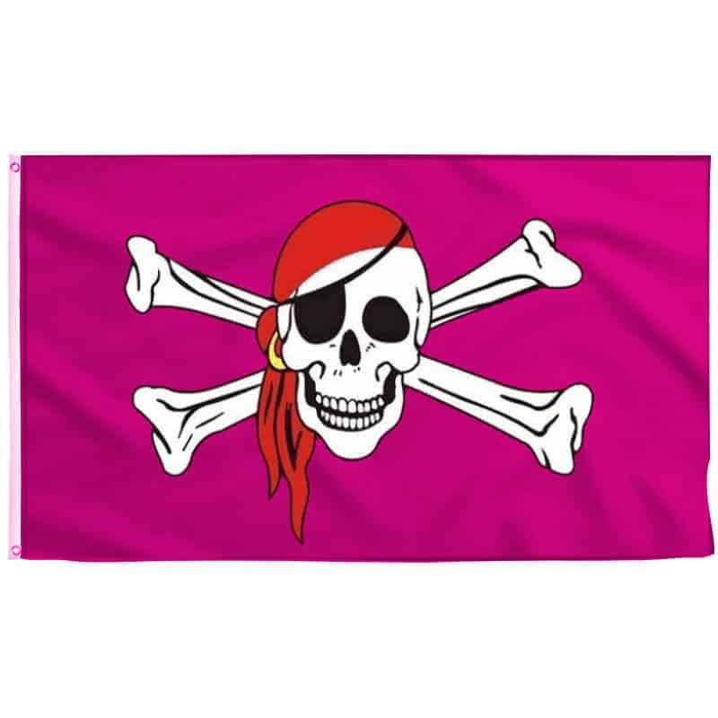 Drapeau Pirate Rose - Jolly Roger