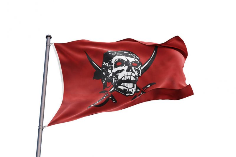 Drapeau Pirate Rouge - Jolly Roger