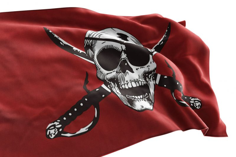Drapeau Pirate Rouge Blanc - Jolly Roger
