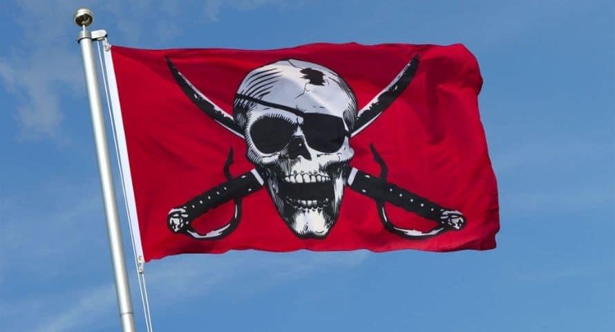 Drapeau Pirate Rouge et Blanc - Jolly Roger