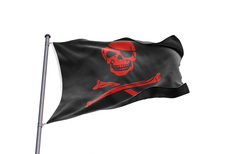 Drapeau Pirate Squelette Rouge - Jolly Roger