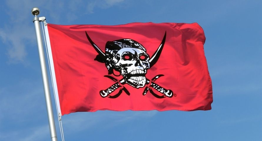 Drapeau Rouge Pirate - Jolly Roger