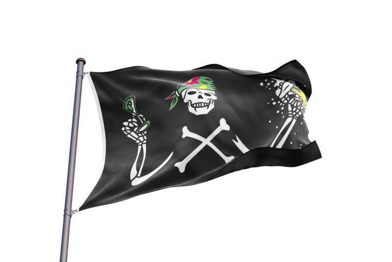 Drapeau Squelette Pirate Rigolo - Jolly Roger