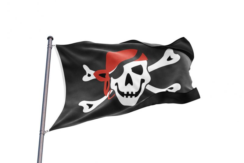 Pavillon Pirate Foulard Rouge - Jolly Roger