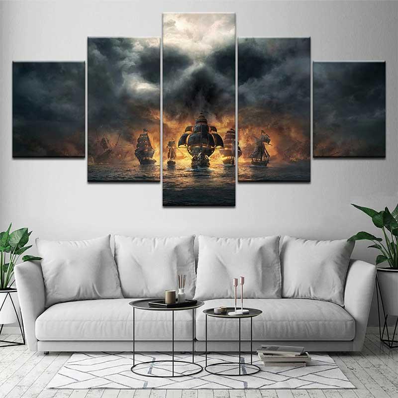 Bateau pirate tableau - Jolly Roger