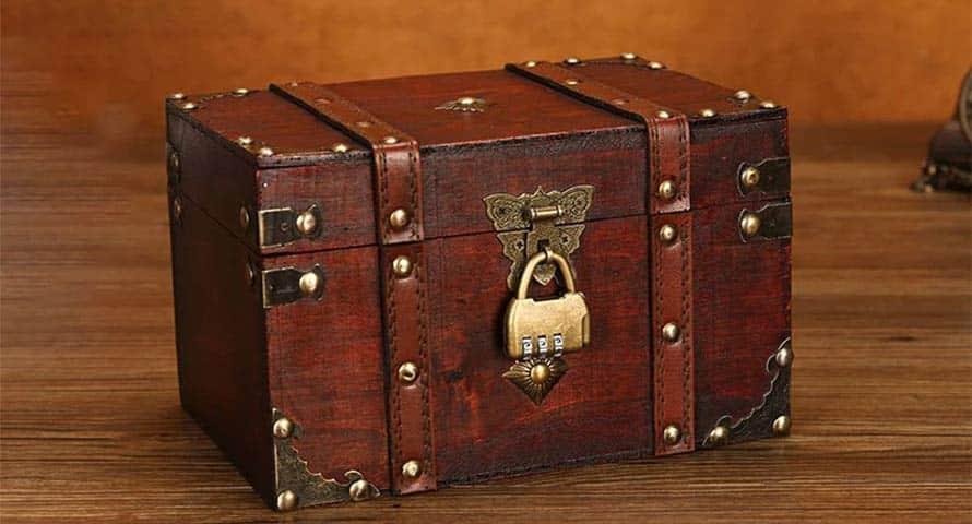 Coffre trésor bois avec cadenas pas cher