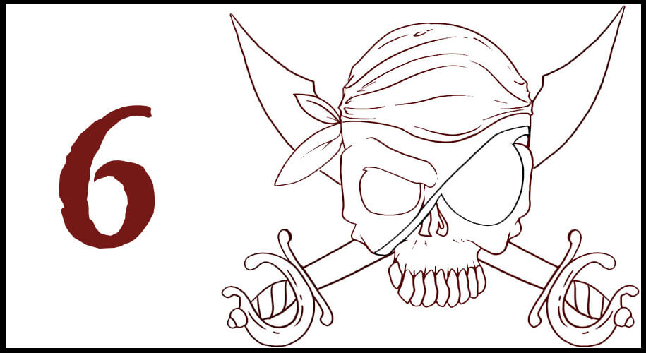 Dessin drapeau éffigie sabre pirate