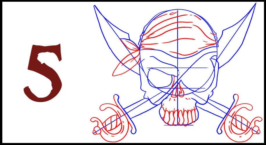 Drapeau pirate Sabre dessin