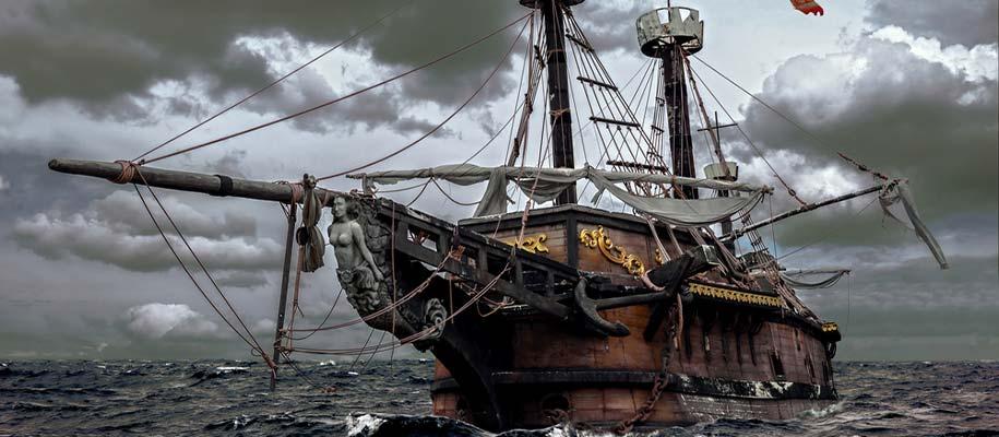 Navire Pirate prêt à l'abordage