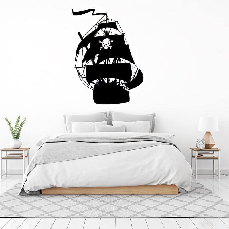 Stickers Bateau Pirate Noir - Jolly Roger