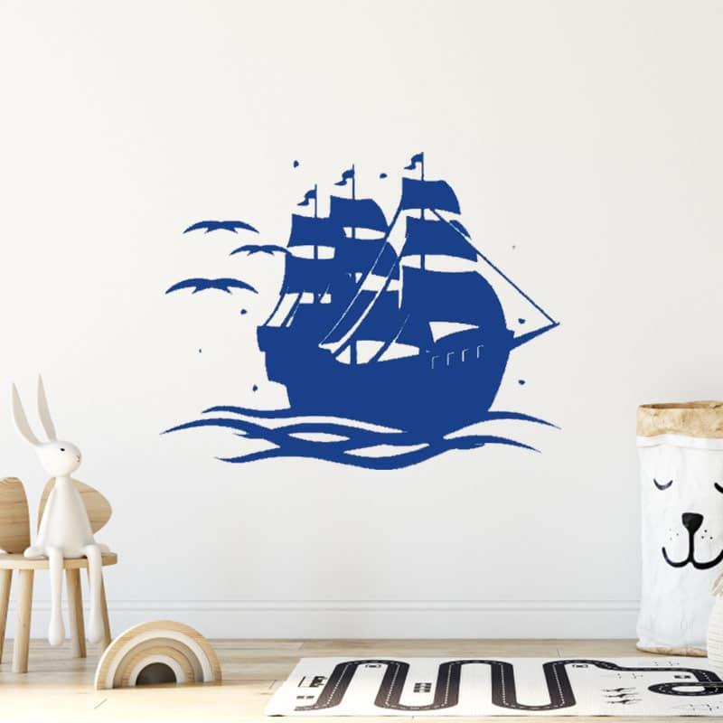 Stickers bateau pirates enfants colorés - Jolly Roger