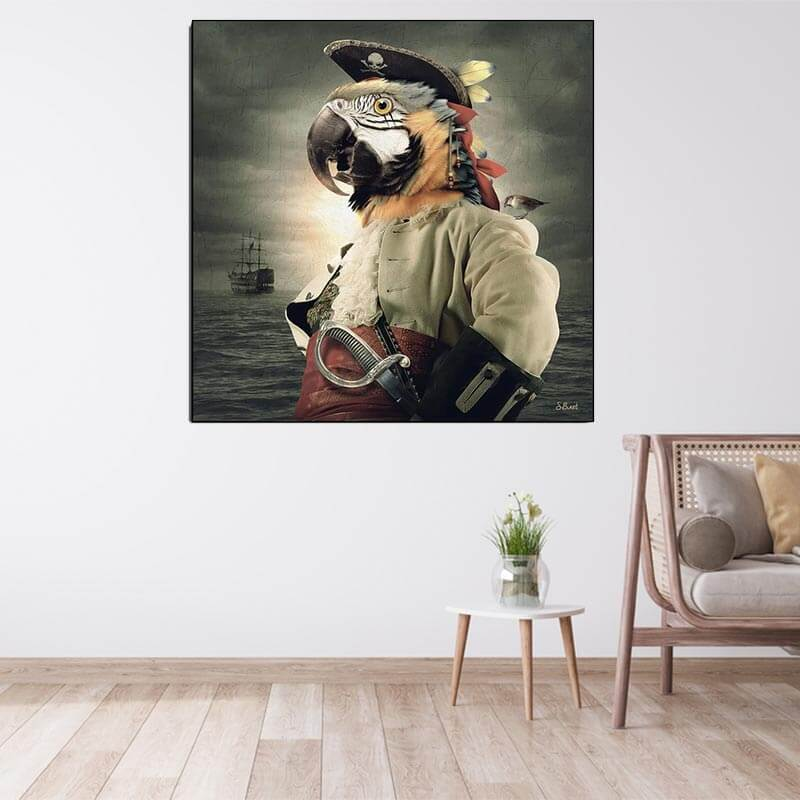Tableau Pirate Perroquet - Jolly Roger