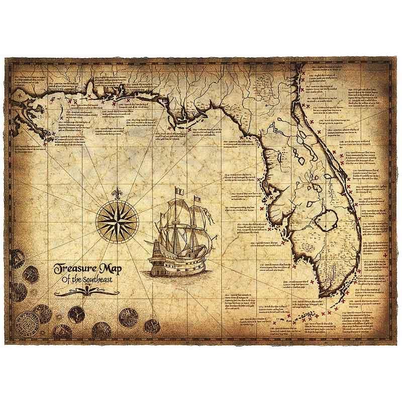 Vrai Carte au Trésor de Pirate - Jolly Roger