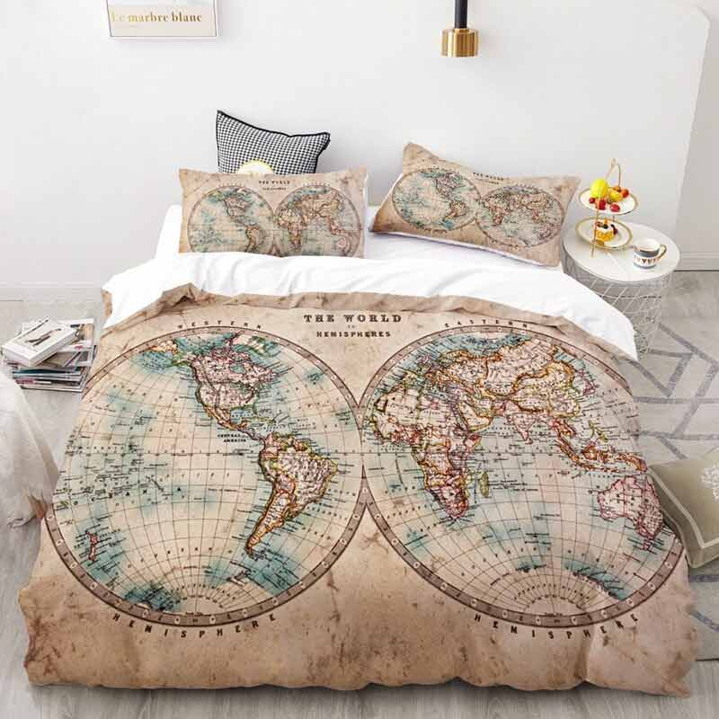 Housse de Couette Carte du Monde - Jolly Roger
