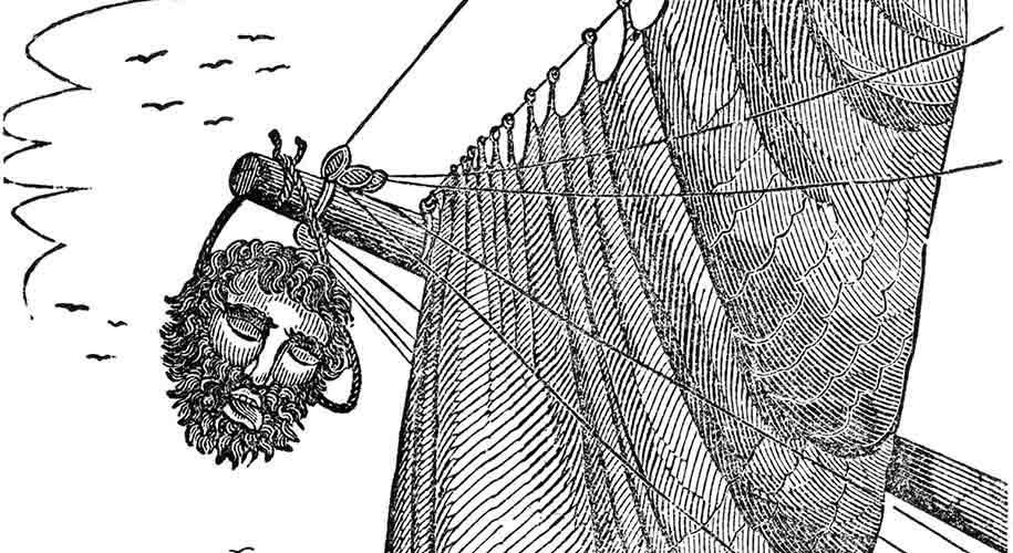 La tête décapiter de Barbe Noire sur Bateau
