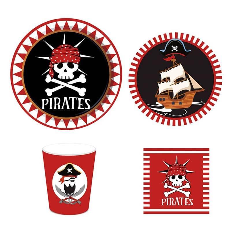 Vaisselle jetable pirate anniversaire - Jolly Roger