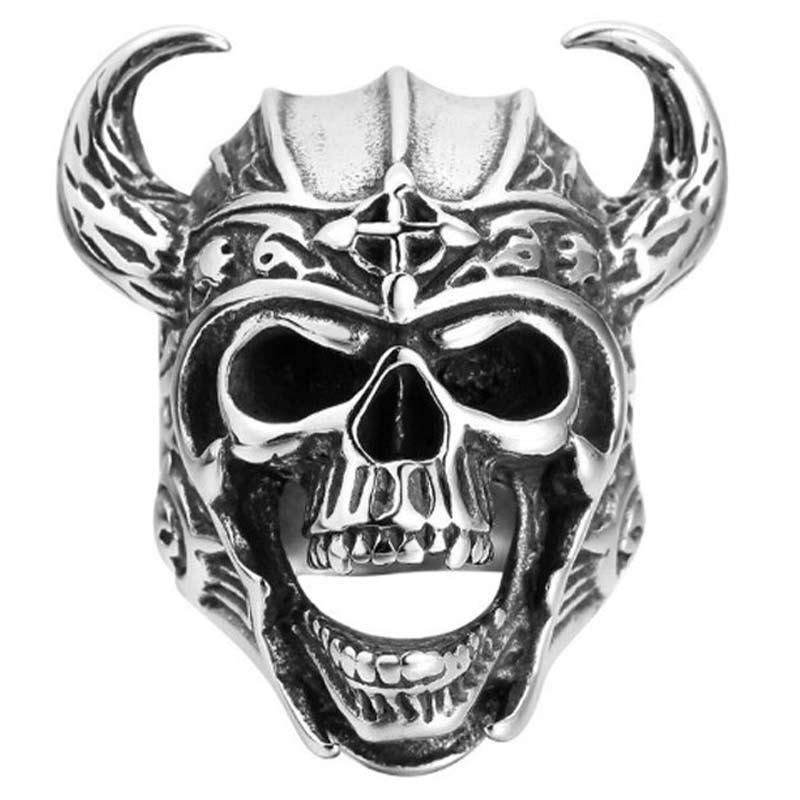 Bague Anneau Homme Acier Inoxydable Tête de Pirate - Bague Pirate - Jolly Roger