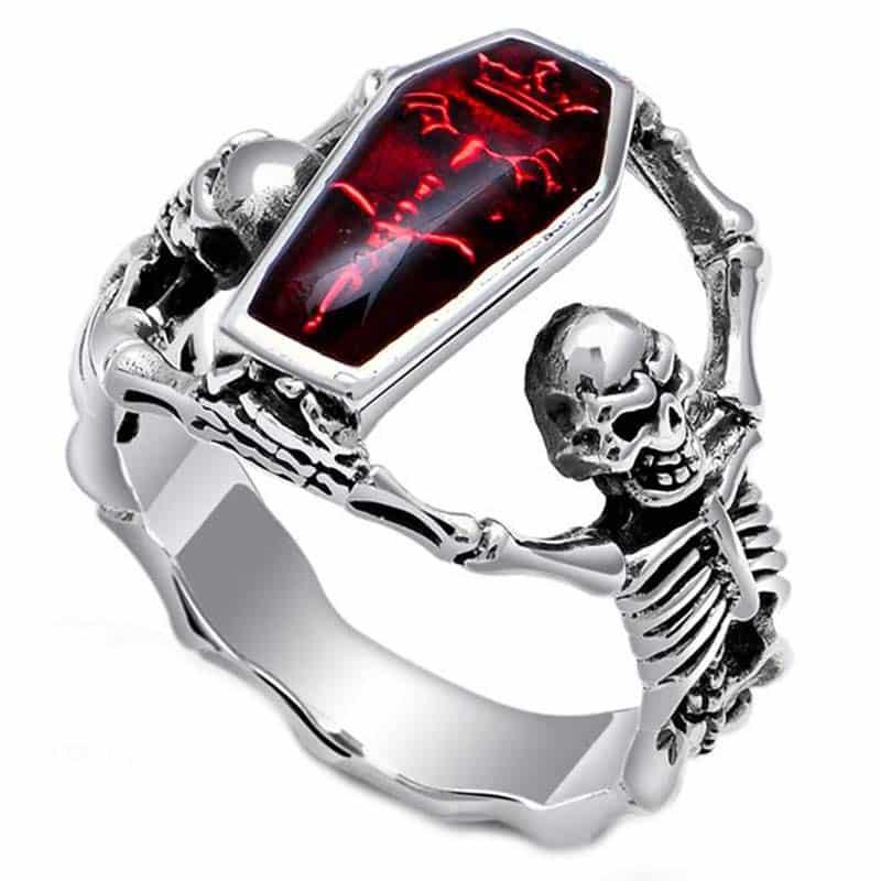 Bague Cercueil avec Squelette - Bague Pirate - Jolly Roger