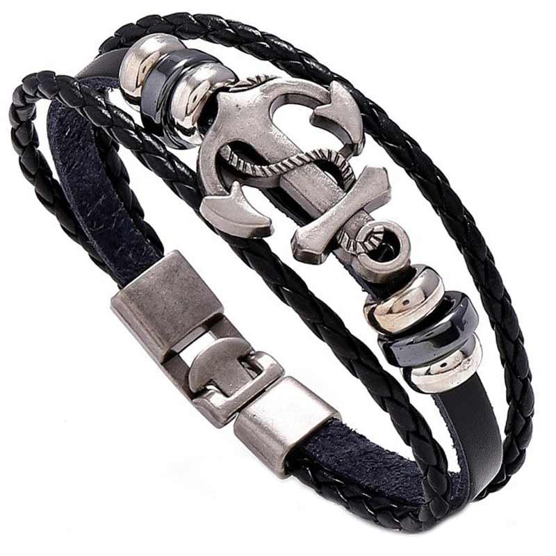 Bracelet Ancre avec Bateau - Bracelet Pirate - Jolly Roger
