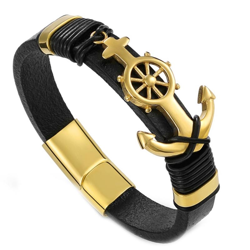 Bracelet Homme Pirate Ancre Or - Bracelet Pirate - Jolly Roger
