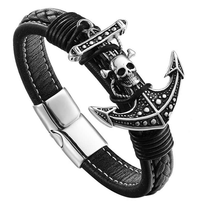 Bracelet Pirate Ancre Tête de Mort - Bracelet Pirate - Jolly Roger