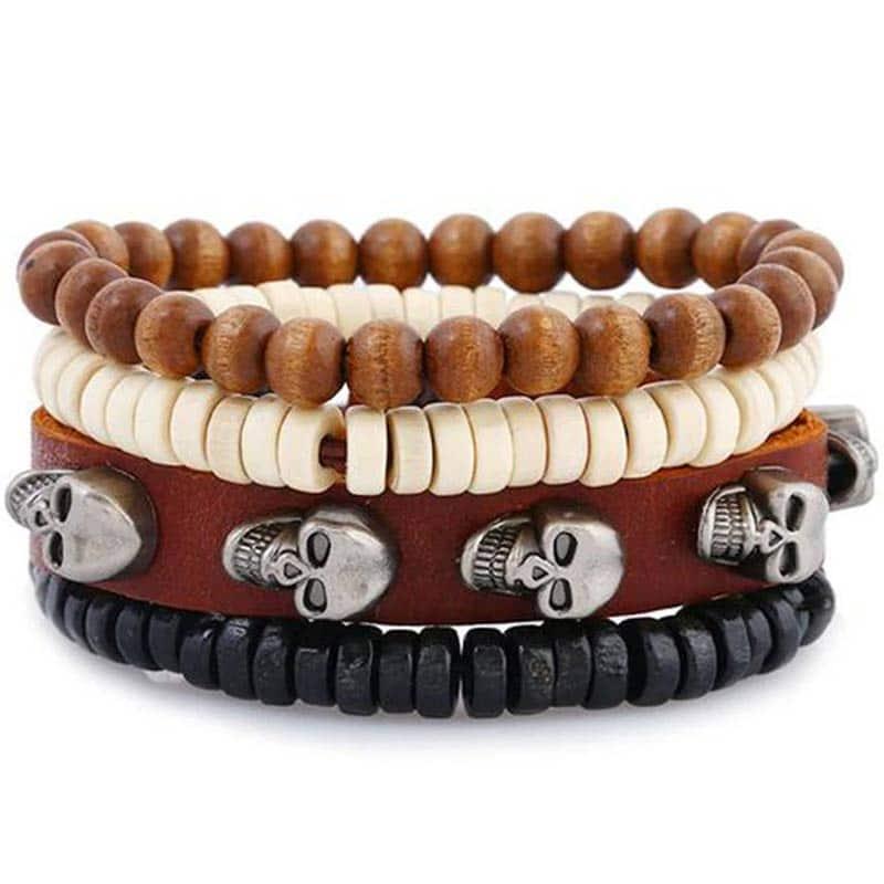 Bracelet Pirate Perle Bois Cuir Homme- Bracelet Pirate - Jolly Roger