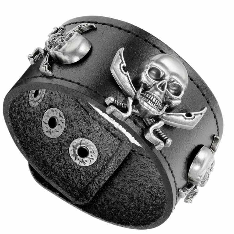 Manchette Cuir Pirate - Bracelet Pirate - Jolly Roger